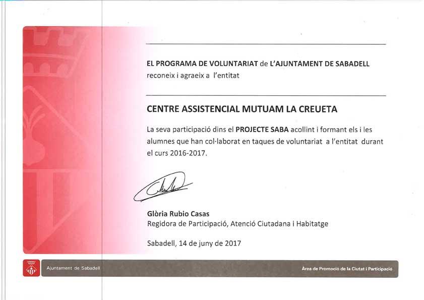 Voluntariat Mutuam La Creueta, Centre Assistencial Mutuam la Creueta